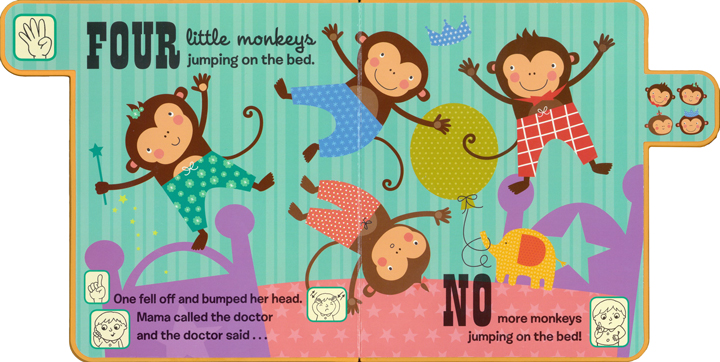 Five Little Monkeys A Fingers /& Toes Nursery Rhyme Book