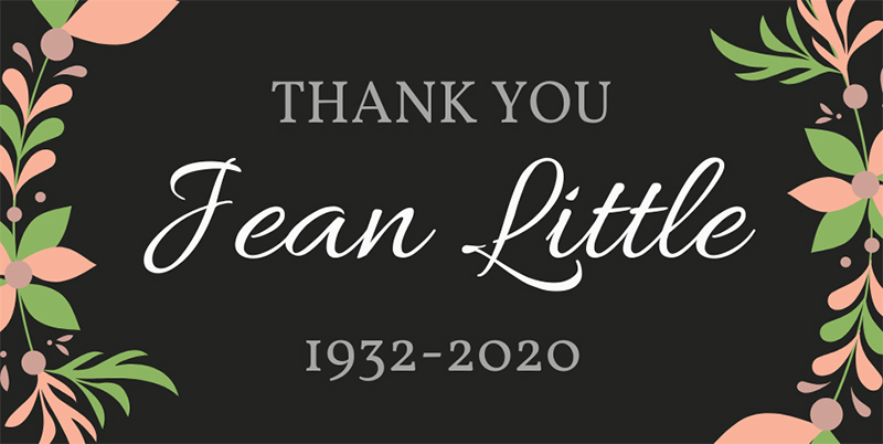 Thank You, Jean Little. 1932-2020.