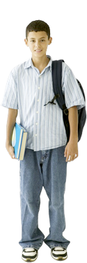Image of a student holding books.