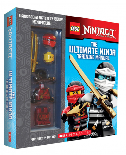 LEGO Ninjago box with handbook, activity book, and minifigure: The Ultimate Ninja Training Manual