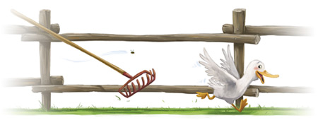Illustration of duck running alongside a wooden fence.