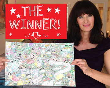 Photo of author L. Pichon with winning doodle.